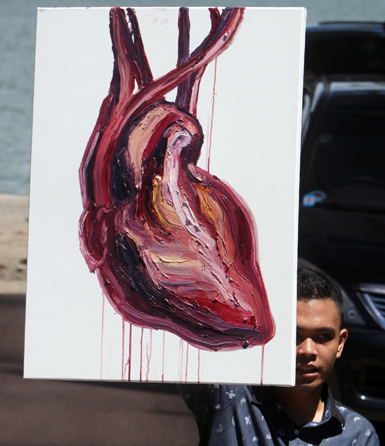Myuran Sukumaran's painting of a dripping heart. Copyright EPA