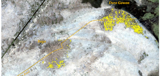 Satellite image showing destruction in Baga area on 7 January 2015